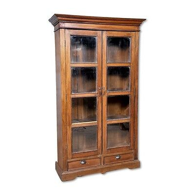 """76"""" Tall Eloise Glass Cabinet Solid Reclaimed Old Wood Vintage Hand Carved"""