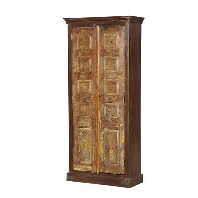 """86"""" Tall Vito Cabinet Solid Reclaimed Old Wood Vintage Hand Carved"""