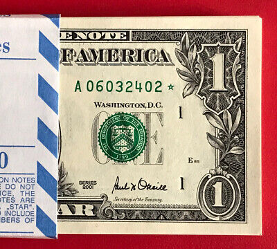 2001 STAR NOTE CHICAGO $1 Dollar Bill , Crisp, consecutive,uncirculated *GEM*