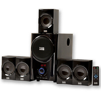 Acoustic Audio AA5160 Home Theater 5.1 Speaker System with FM Tuner Multimedia