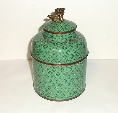 Rare Old Chinese Bronze Cloisonne Green Enamel Foo Dog Humidor Canister Jar Box