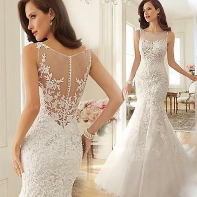 New Mermaid White Ivory Wedding Dress Bridal Gown Stock Size US4-6-8-10-12-14-16