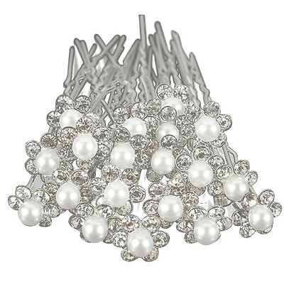 20Pcs Wedding Bridal Pearl Flower Crystal Hair Pins Clips Bridesmaid (Silver) PK