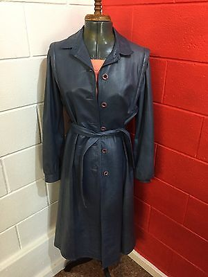 Vintage 1970s-80s Blue/grey Genuine Leather Trench Coat Brand Espagna 12-14 VGC