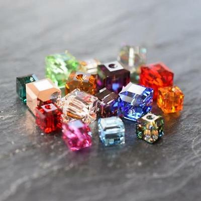 SWAROVSKI CRYSTAL CUBE BEAD 4-12mm *CLEAR *AB *ALL COLOURS *WHOLESALE *GENUINE