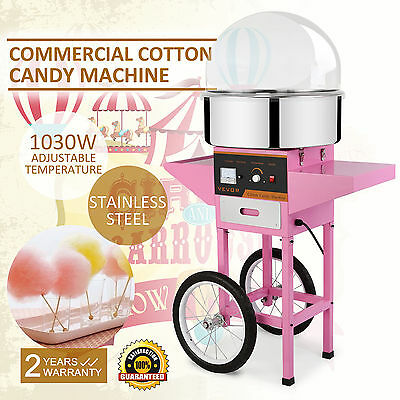 1030W Electric Commercial Cotton Candy Maker Fairy Floss Machine With Dome Cart