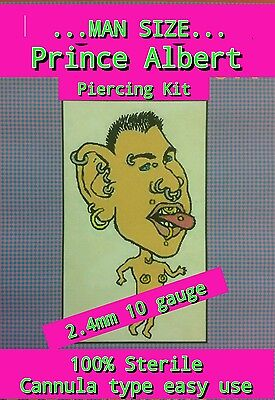 MAN SIZE 2.4mm 10ga PRINCE ALBERT CANNULA PIERCING + DVD, Step by step guide.