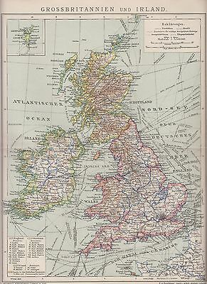 1890 UK GREAT BRITAIN & IRELAND  Antique Map