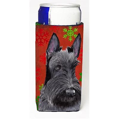 Scottish Terrier Red and Green Snowflakes Holiday Christmas Michelob Ultra s ...