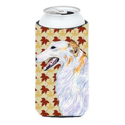 Carolines Treasures Borzoi Fall Leaves Portrait Tall Boy bottle sleeve Hugger