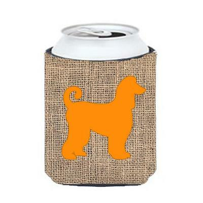 Carolines Treasures Afghan Hound Burlap And Orange Can Or Bottle Hugger