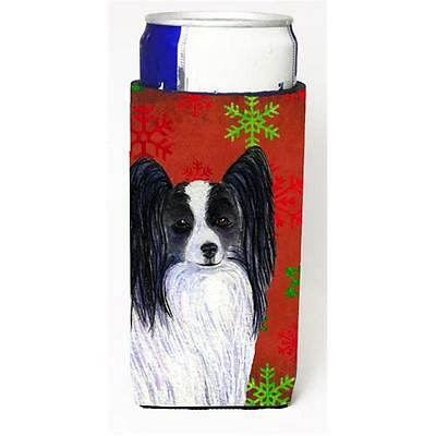 Papillon Red And Green Snowflakes Holiday Christmas Michelob Ultra bottle sle...