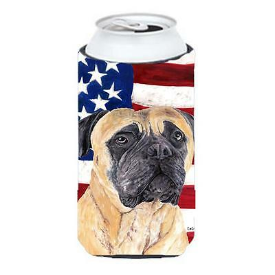Usa American Flag With Mastiff Tall Boy bottle sleeve Hugger 22 To 24 oz.