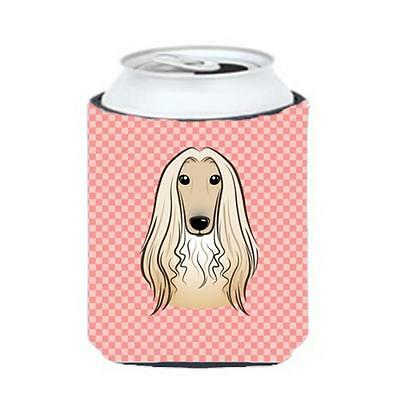 Carolines Treasures Checkerboard Pink Afghan Hound Can Or Bottle Hugger, 12 Oz.