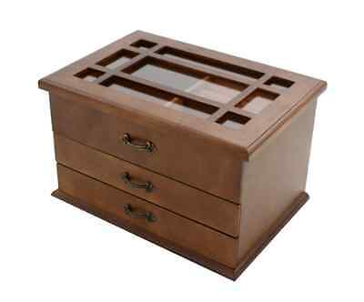 Large Wooden Jewellery Box Two Drawers Trinket Brown Perfect Gift #11