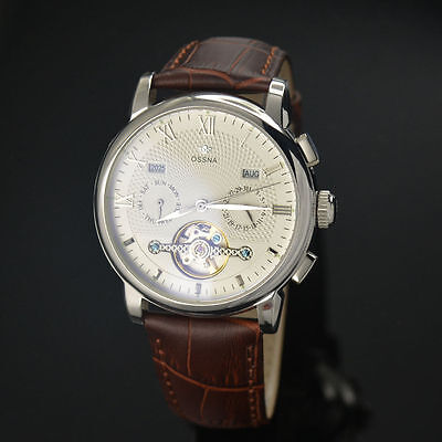 42mm White Dial wheel Automatic Leather Band Silver markers Ossna Men Watch 10