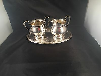 Sterling Silver Prelude Creamer Sugar & Tray  By International