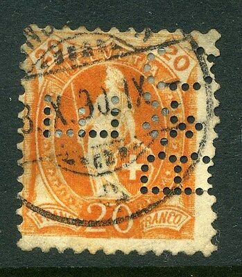 SWITZERLAND;  Early 1890s fine used Helvetia issue 20c. value + PERFIN