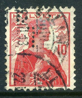 SWITZERLAND;  Early 1900s fine used 10c. value + PERFIN