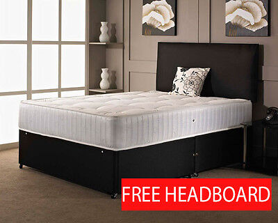 BLACK FABRIC DIVAN BED + MEMORY MATTRESS + HEADBOARD 3FT 4FT 4FT6 Double 5FT