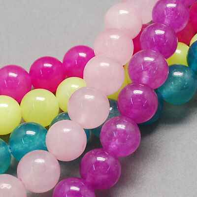 10 Strands Natural Jade Bead Strands Mixed Color 6mm Jewellery Making UK