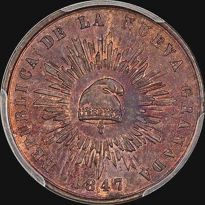 """""""finest Known"""" @ Pcgs & Ngc: Cap & Rays Colombia 1847 1/2 Decimo Pcgs Ms63 Toned"""