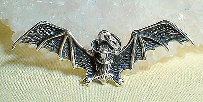 Solid 925 Silver Large Bat Pendant SP Chain~Pagan~Wicca~Witch~Gothic Jewellery