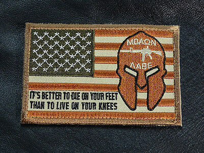 Molon Labe Spartan Usa Flag Better To Die Feet Live Your Knee Hook Loop Patch