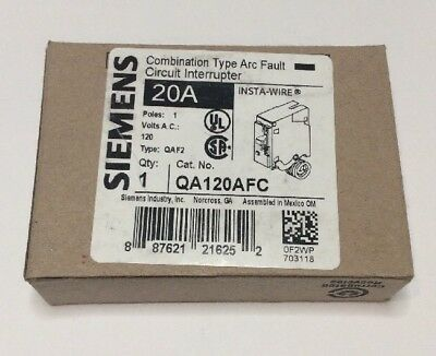 New Circuit Breaker Siemens QA120AFC  20 Amp 1P 120V Combination  AFCI Type QAF2