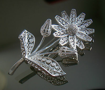W NONNENMANN - Fine Floral Filigree Sterling Silver Pin - Germany - 20th Century