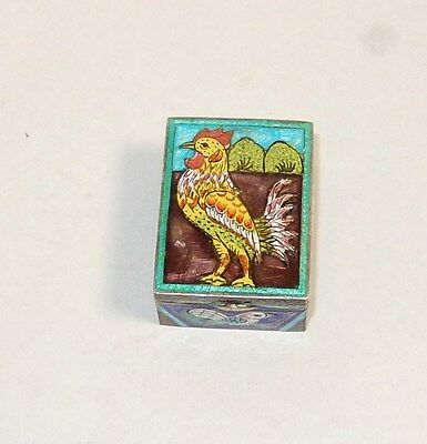 Small Chinese Gold Gilt Silver Cloisonne Repousse Enamel Rooster  Design Jar Box