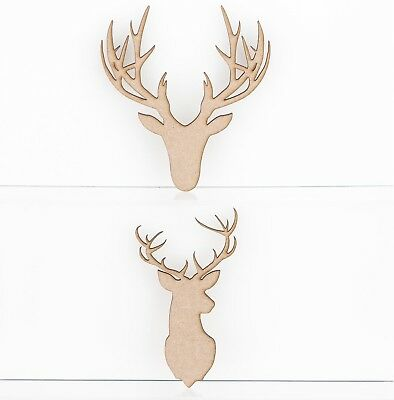 Wooden MDF Stag Deer Head Shapes 3mm Thick Tags Embellishments Decoration Craft