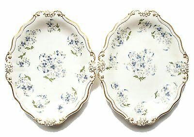 Pr. of Antique English Hand-Painted & Gilt Porcelain Platters - Mid 19th Century