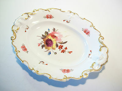 Antique Porcelain Platter - Hand Painted Flowers & Gilding - U.K. - 19th Century
