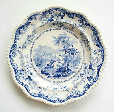 ELKIN KNIGHT & BRIDGWOOD - Canton Views - Antique Dinner Plate - U.K. - C. 1830
