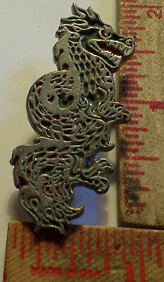 Vintage unusual Dragon pin collectible old fantasy pinback mythological creature