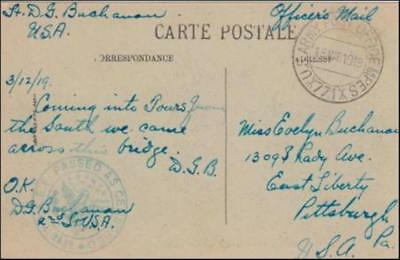 France 1919 (Mar) Censored Military Post Card Tours to Pittsburgh PA USA