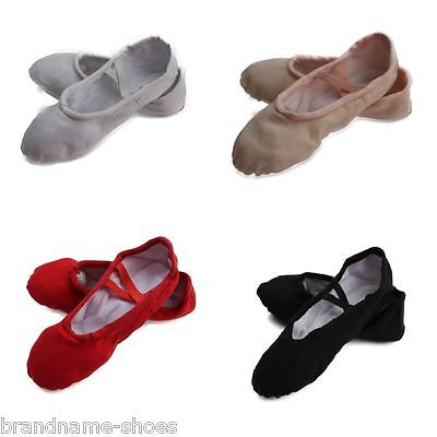 BALLET SHOES split sole canvas dance black pink nude white red kids girls womens