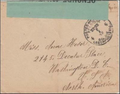 France 1918 (Jan) Censored WWI Military Cover & Letter Belgian Front to DC USA