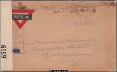 Unknown Origin 1918 (Mar) Censored WWI YMCA Military Cover to New York USA