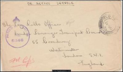 BNAF 1943 (Jun) Censored WWII Military Cover London Passenger Transport