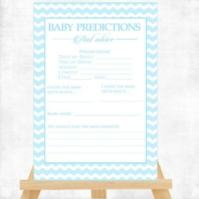 Baby Shower Game - BABY PREDICTION CARDS - 14X10CM BABY BOY BLUE CHEVRON