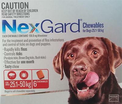 NEXGARD Flea and Tick medication/treatment for Large Dogs25.1-50 Kgs-6 PackCHEWS