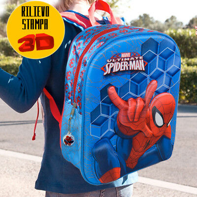 Zaino Scuola Asilo Elementare Zainetto 32x10x25 Marvel The Ultimate Spiderman 3D