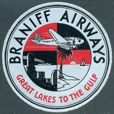 Original Braniff Aiways - Great Lakes to the Gulf Luggage Label