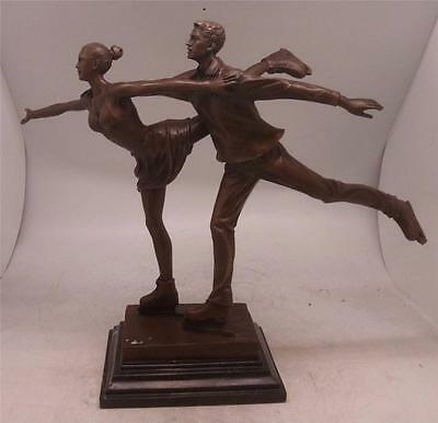 Art Deco Bronze Figure of a Skater Man & Lady on Solid Marble Base - Ice Skating