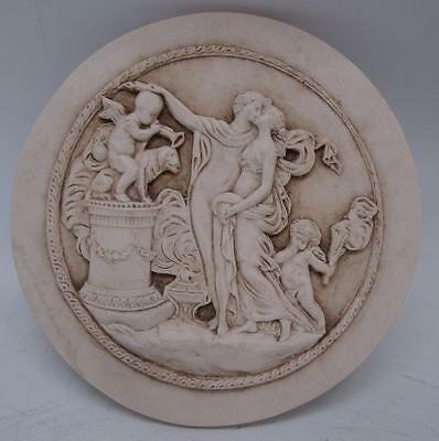 Italian Marble Plaque - Man & Woman - Cherubs - 16cm Diameter