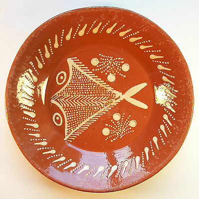 Vintage Continental Terracotta Slipware Decorated Dish - Signed - 20th Century