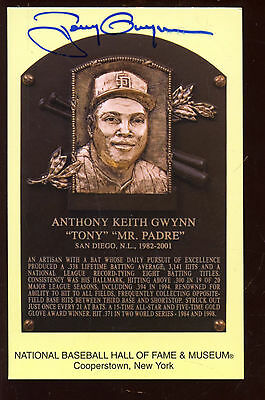 Yellow Hall of Fame Plaque Autographed Tony Gwynn Hologram