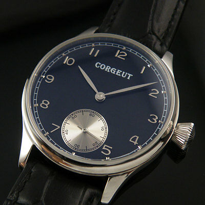 44mm Corgeut black dial pilot 6498 hand winding Mens parnis Wrist Watch 002